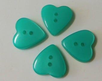 SALE!*** 4 sea foam green heart buttons plastic craft supply button lot