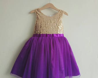 Gold and Purple flower girl's dress, gold sequined and purple tutu dress