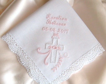 BAPTISM HANDKERCHIEF, Christening, Confirmation, Personalized, Embroidered, For Baby Boy or Girl, Custom, Baby Gift, Shell Lace Edge 12x12