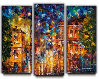 Merveilleux Set Of 3 Oil Paintings, Three Panels Art, Triptych Wall Art On Canvas By