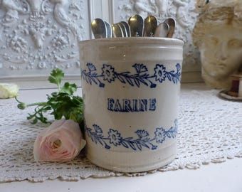Antique french ironstone blue and cream jar cannister for flour. Antique utensil jar French country kitchen Crackling patina. Silverware jar