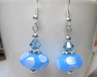 Blue and white polka dot spot earrings with turquoise swarovski elements