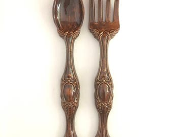 Giant Fork Spoon Pair Wall Hanging Ceramic Utensil French Provincial Kitsch Vintage Kitchen Decor 1960s