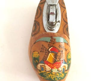 Wooden Shoe Lighter Dutch Clog Tiny Holland Vintage Smoking Accsesory 1970s