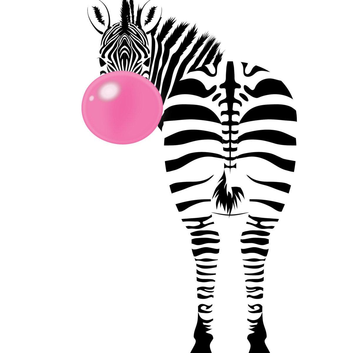 Zebra Print : Red And White 8x10 Print Animal Art Animal