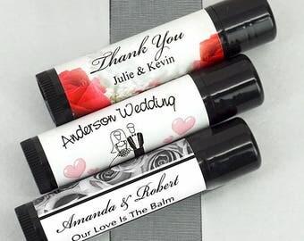 Personalized Lip Balm Favors | Wedding Favors | Black Lip Balm Tubes | Bridal Shower Favors | Wedding Lip Balm (1297000)