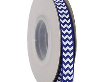 "Grosgrain Chevron Ribbon 3/8"" - 10 Yards - Blue"