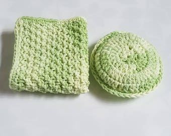 Scrubbie and Dishcloth Gift Set Crochet Scrubbie Handknit Dishcloth 2 Piece Set Housewarming Kitchen Bathroom Decor Cleaning Supplies