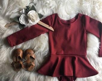 Burgundy Twirl Dress - Leotard Dress - Long Sleeve Playsuit Dress - Toddler/Baby Dress - Skirted Leotard
