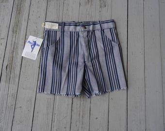 70's Shorts Boys Stripes Hipster Short Shorts Frayed NOS Small