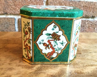 Vintage Floral Butterfly Hinged Tin, Made in England, Asian Motif