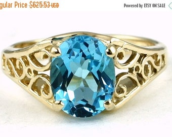 On Sale, 30%Off, Swiss Blue Topaz, 18KY Gold Ring R005