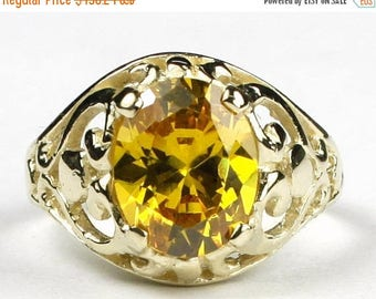 On Sale, 30% Off, Golden Yellow CZ, 14KY Gold Ring, R004