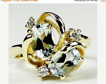 On Sale, 30% Off, Aquamarine, 14Ky Gold Ring, R016