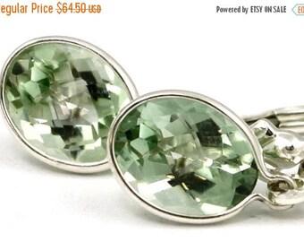On Sale, 30% Off, Green Amethyst, 925 Sterling Silver Leverback Earrings, SE001