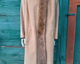 Vintage Nubuck & Mink Trimmed Urban Equestrian Coat