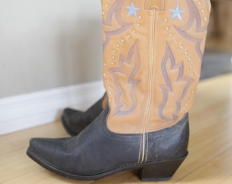 vintage black & tan embroidered blue star leather cowboy boots womens 7