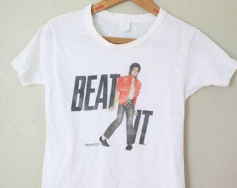 vintage 1984 MICHAEL JACKSON  beat it tour paper thin  t shirt xs