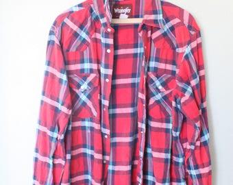 vintage distressed red & black  plaid western cut lumberjack  shirt