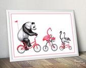 Panda, pink flamingo and lemurs riding their bicycle, cycling animals print, 12 x 18 print