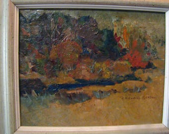 Mid Century abstract painting, vintage abstract painting, mid century oil painting, Landscape oil painting
