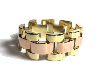 Gorgeous Two-Tone 14k Gold Statement Bracelet 53.8 Grams