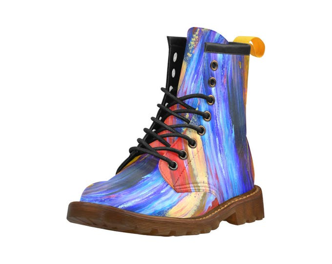 """Keith Boyd's Abstract Art """"Just A Shot Away"""", Men's high top combat boots, 80's style, unisex prints"""