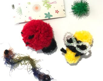 Cat Toys, Bugs Package, Ladybug  Toy, Bee Toy, Pom Pom Toys, Cat Birthday, Catnip Cat Toys, Kitten Play, Cat Balls