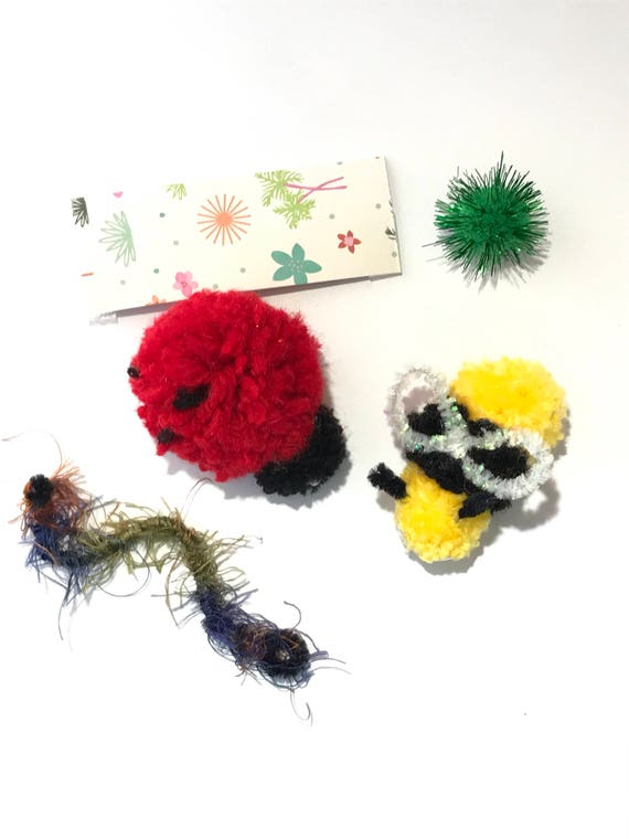 Cat Toys, Bugs Package, Ladybug  Toy, Bee Toy, Pom Pom Toys, Cat Birthday, Catnip Cat Toys, Kitten Play, Cat Balls