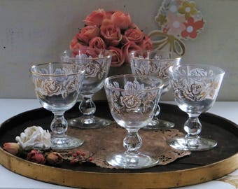 Libbey Rose Bouquet Champagne, Sherbet, Sherry Glasses, Set of 5 Vintage Barware
