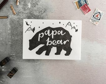 "Fathers Day Card - ""Papa Bear"" Letterpress Card - perfect for Fathers Day, first Fathers Day, or Birthday and great addition to a gift"