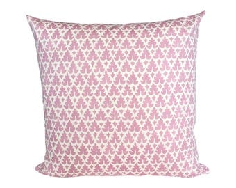 READY TO SHIP - 20x20 Quadrille Volpi Pink on Light Tint designer pillow cover