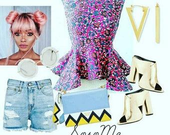 Charlie pink peplum African print, peplum top, Pink, African fabric, Ankara clothing, African Fashion, Women's Clothing, Ankara top