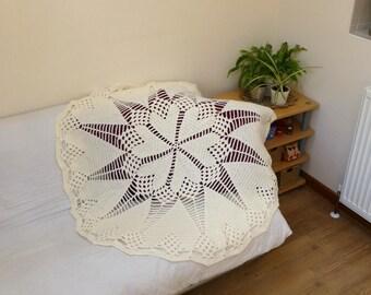 Crochet Cream Heart Doily Styled Blanket