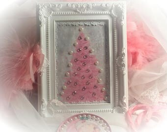 Framed Pink Christmas Tree Embellished Print Art Shabby Chic Xmas Retro Decor Decoration Original OOAK Gift Idea by Sweet Vintage Designs