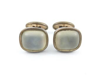 Antique Frosted Glass Cuff Links, A14