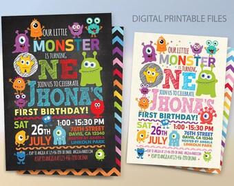 Monster Birthday Party Invitation, Monster Birthday Invitation, Monster Party, Little Monster 1st Birthday Invitation