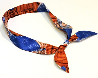 Neck Cooler, Stay COOL Bandana Wrap, Body Head Heat Relief Gel Cooling Headband Scarf, Abstract Animal Print Cool Tie,Rust and Blue iycbrand