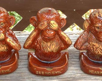 1950 or early 60s Vintage Rare Three Wise Monkeys Novelty Ashtray Set Smoking Collectible — Three Pieces!