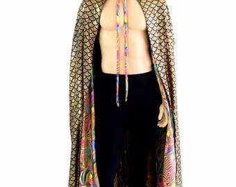 """50"""" or 60"""" Long Full Length REVERSIBLE Gold Holographic Mermaid Dragon Scale and Trippy Tropical Swirl Hooded Cape Cloak 151436"""