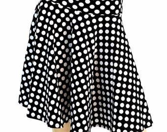 """19"""" Black & White Polka Dot Retro Pinup Skater Skirt Full Circle Stretchy - 154724"""