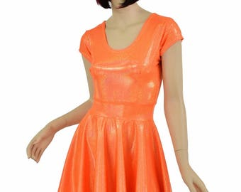 Neon Orange Sparkly Jewel Scoop Neck Cap Sleeve Fit and Flare Skater Skate Dress Rave Festival Clubwear EDM - 154747