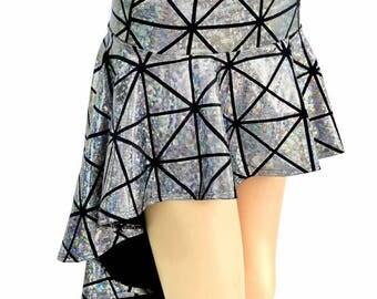 Silver Cracked Tile Shiny Metallic Holographic Hi-Lo Mini Skirt Rave Festival Skirt - 154800