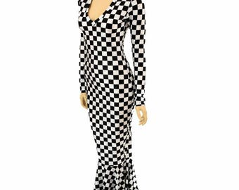 Black & White Checkered Print V-Neck Gown with Long Sleeves and Puddle Train Dress - 155039