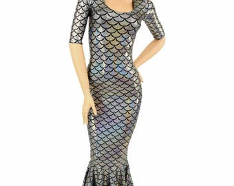 Glamorous, Bombshell Silver Mermaid Dragon Scale Holographic Gown with Half Sleeves and Puddle Train - 150364