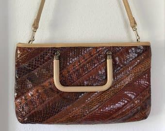 1970s Snakeskin Clutch by Margolin Brown Cocktail Handbag