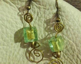Sea green and brass dangle earrings
