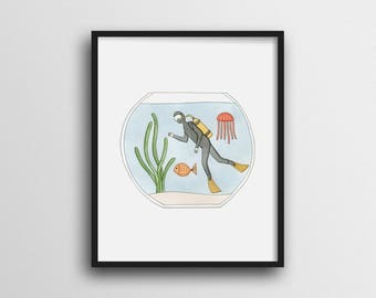 Scuba Diving in a Fish Bowl Wall Art Print Home Decor 11x14 8x10