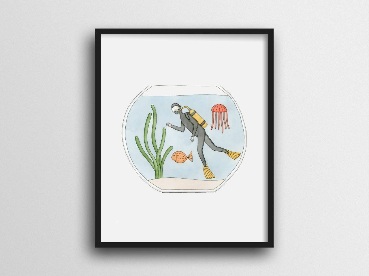 Scuba diving in a fish bowl wall art print home decor 11x14 for Diving and fishing mural