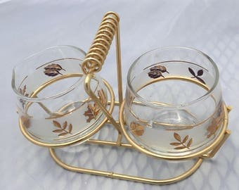 1960s Vintage Libbey Golden Foliage Cream and Sugar Tray Set, Libbey Glassware Gold Leaves w/ Carrier 1960's Serving Caddy